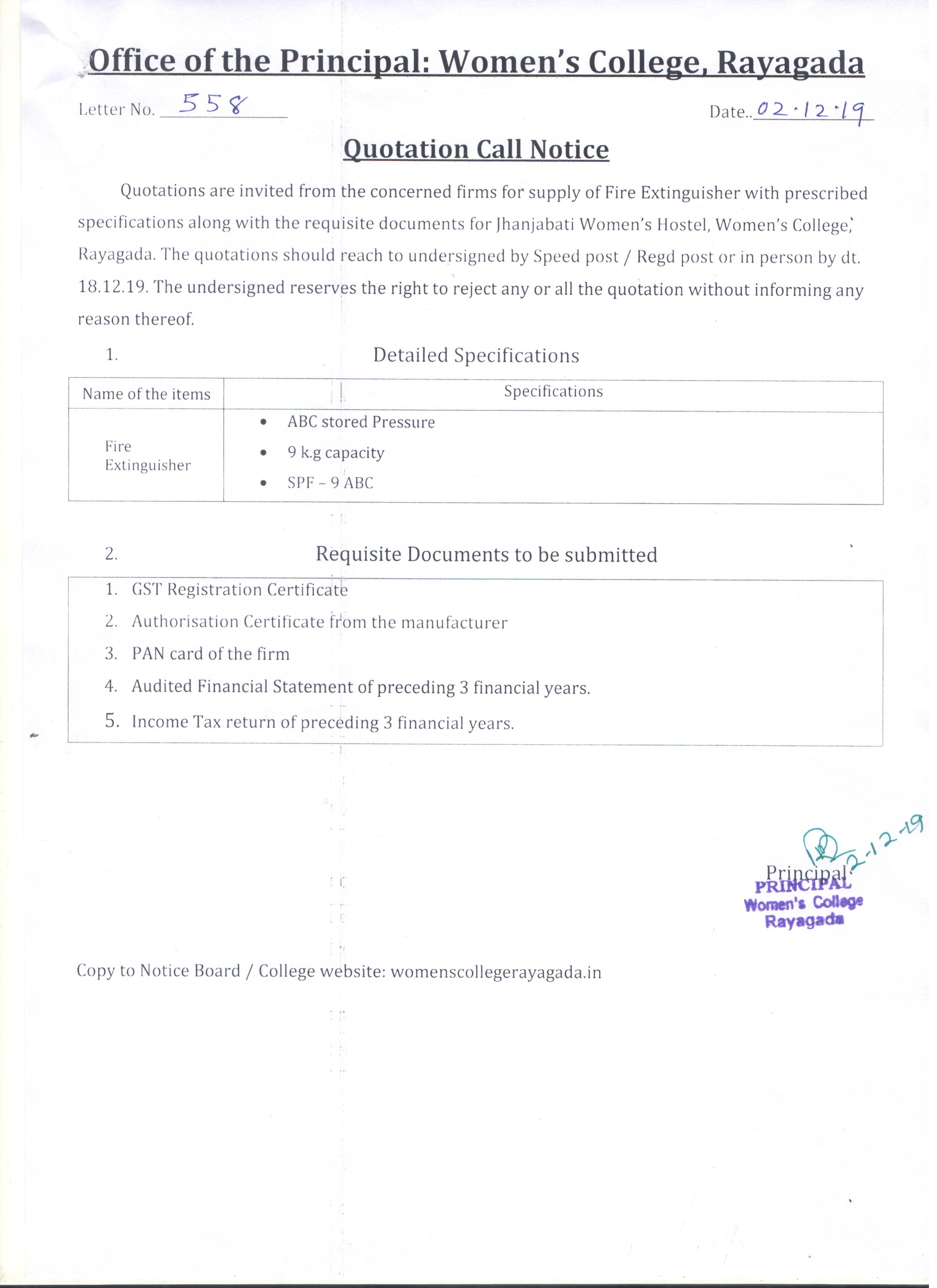 quotation call notice(Fire Extinguisher)